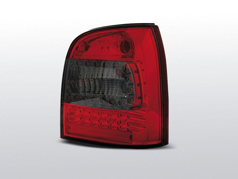 Zadné svetlá diódové, AUDI A4, 1994-2001, AVANT ČERVENÁ SMOKE LED