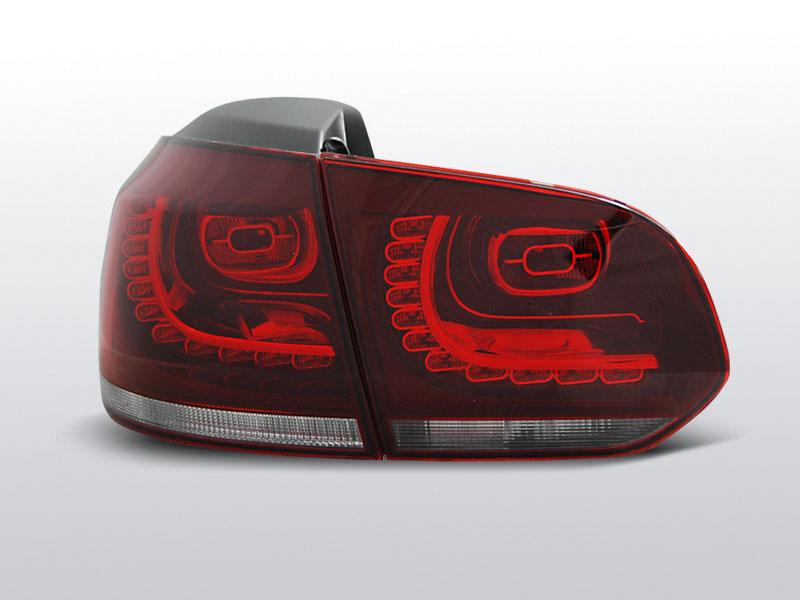 Zadné svetlá diódové, VW GOLF VI, 2008-2012, ČERVENÁ BIELY LED