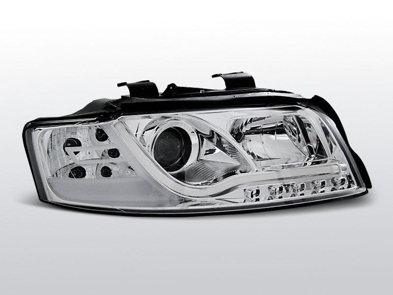 Predné svetlá, AUDI A4, 2000-2004, LED TUBE LIGHTS CHROM