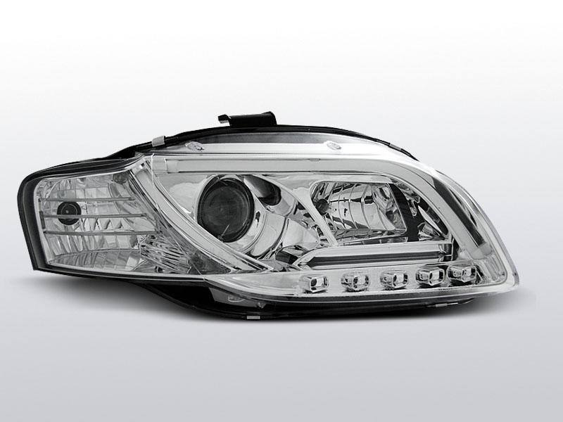 Predné svetlá, AUDI A4 B7, 2004-2008, LED TUBE LIGHTS CHROM