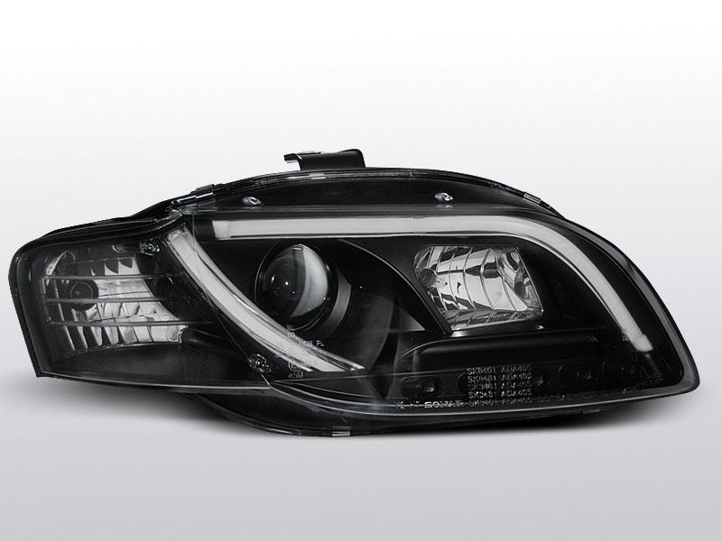Predné svetlá, AUDI A4 B7, 2004-2008, LED TUBE LIGHTS ČIERNA