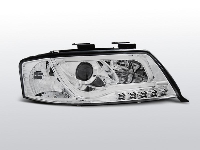 Predné svetlá, AUDI A6, 2001-2004, LED TUBE LIGHTS CHROM