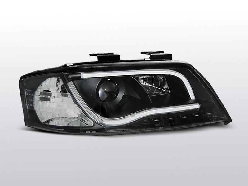 Predné svetlá, AUDI A6, 2001-2004, LED TUBE LIGHTS ČIERNA
