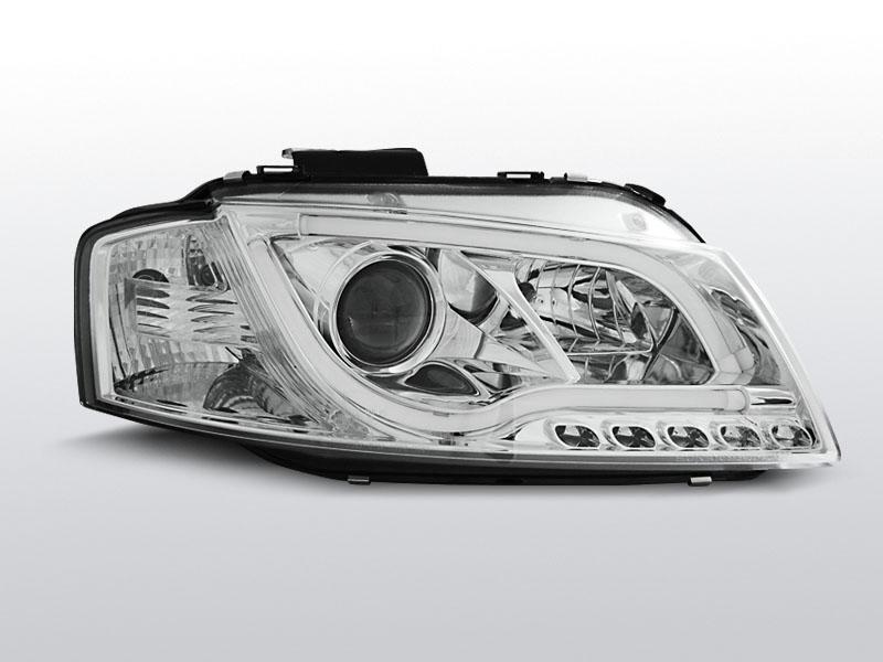 Predné svetlá, AUDI A3 8P, 2003-2008, LED TUBE LIGHTS CHROM TRU DRL