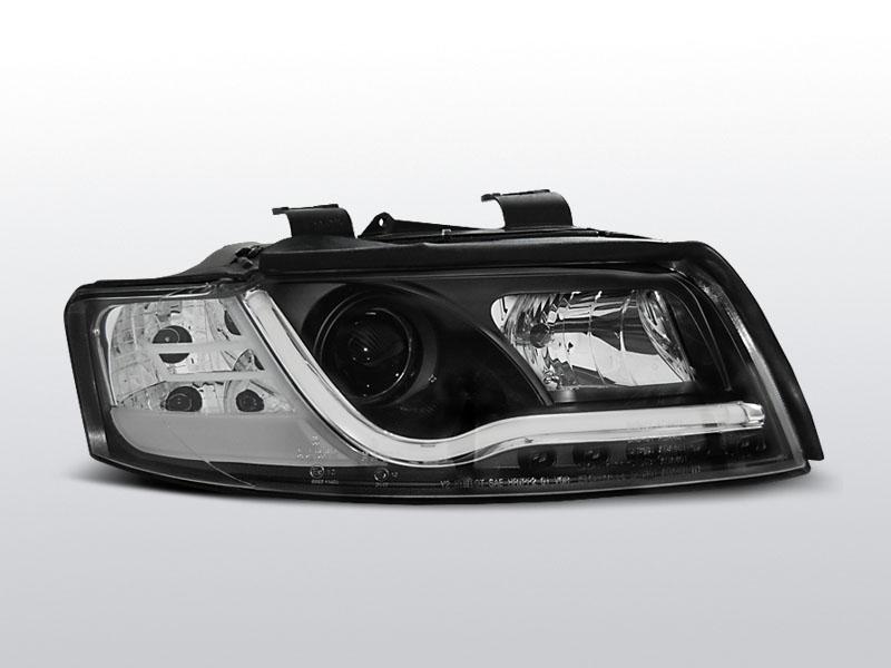 Predné svetlá, AUDI A4, 2000-2004, TUBE LIGHTS ČIERNA TRU DRL