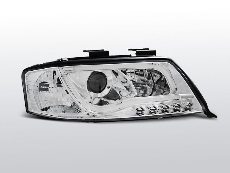 Predné svetlá, AUDI A6, 2001-2004, TUBE LIGHTS TRU DRL CHROM