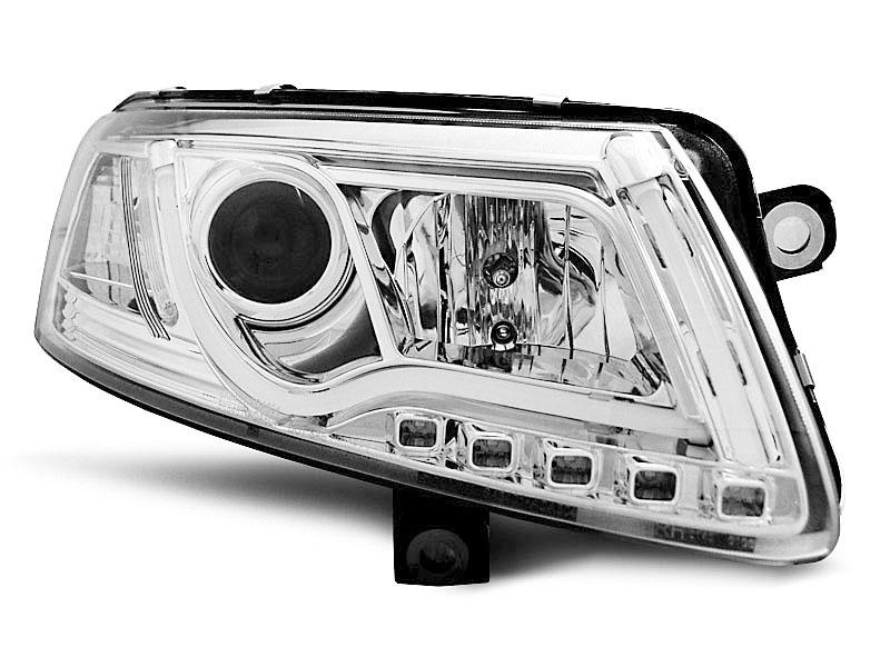 Predné svetlá, AUDI A6 C6, 2004-2008, LED TUBE LIGHTS TRUE DRL CHROME