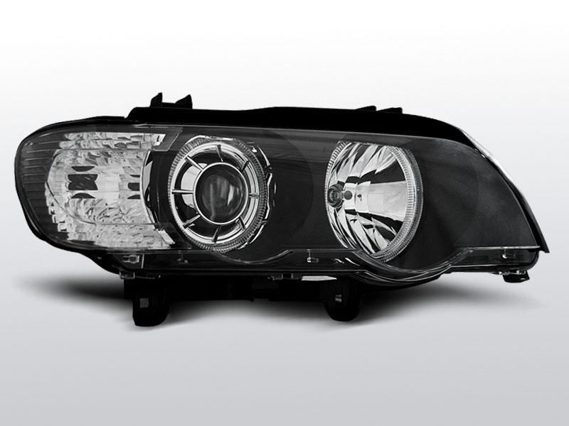 Predné svetlá, BMW X5 E53, 1999-2003, LED LED ANGEL EYES XENON ČIERNA