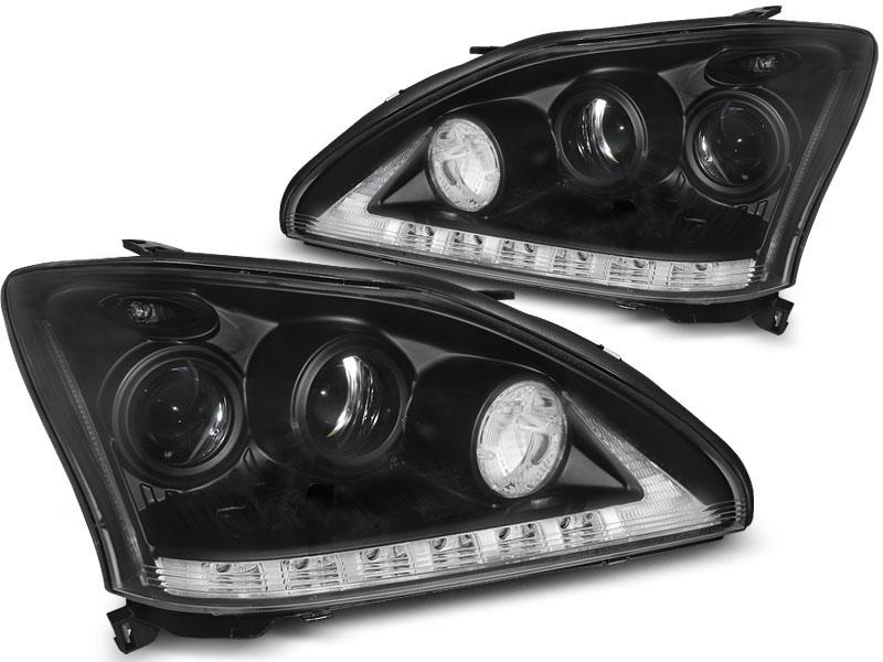 Predné svetlá, LEXUS RX 330/350, 2003-2008, TUBE LIGHT BLACK