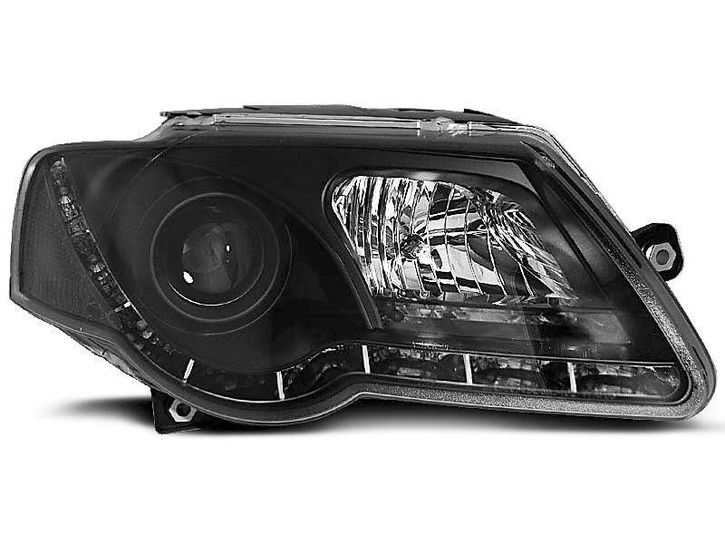 Predné svetlá, VW PASSAT B6 3C, 2005-2010, TRU DRL ČIERNA