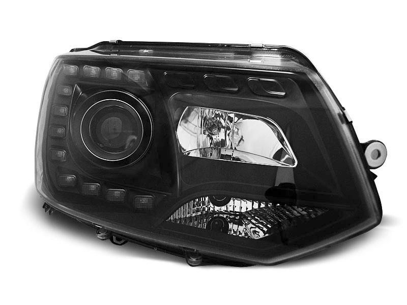 Predné svetlá, VW T5, 2010-2015, BLACK TRU DRL