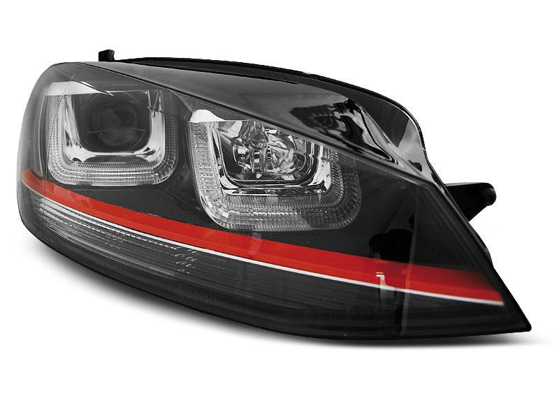 Predné svetlá, VW GOLF 7, 2012-2017, U-TYPE BLACK WITH RED LINE GTI LOOK