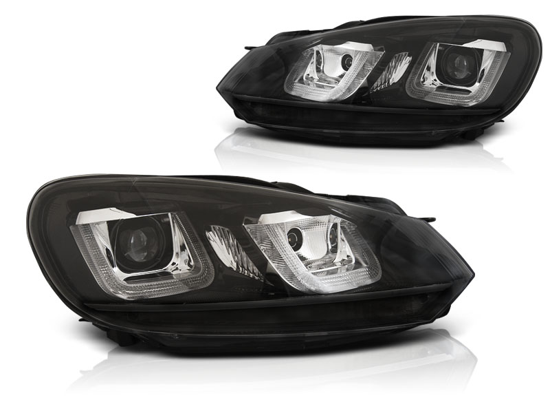 Predné svetlá, VW GOLF 6, 2008-2012, U-TYPE BLACK BLACK LINE DRL