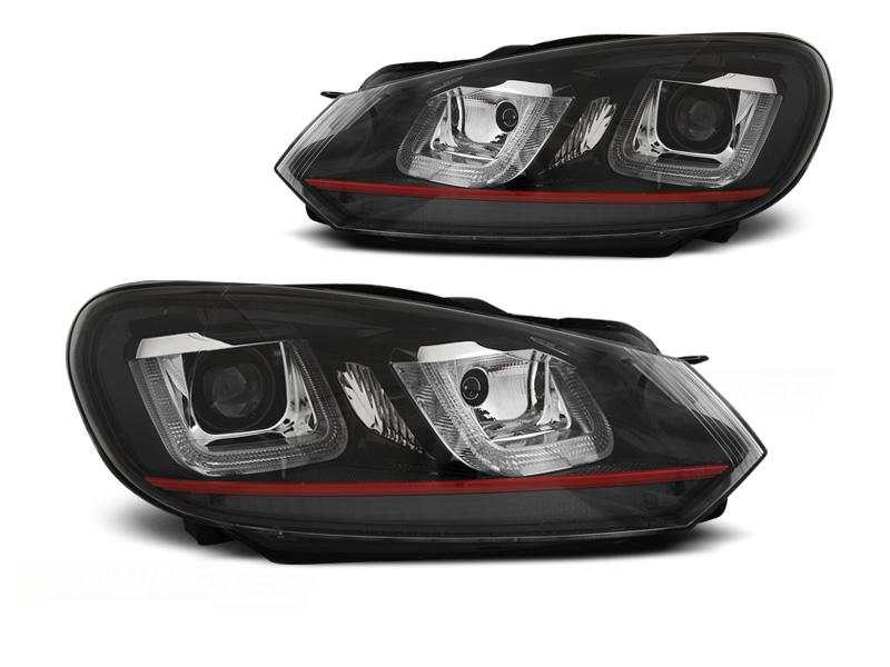 Predné svetlá, VW GOLF 6, 2008-2012, U-TYPE BLACK RED LINE DRL
