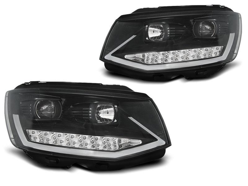 Predné svetlá, VW T6, 2015- , BLACK CHROME TUBE LIGHT LED DRL