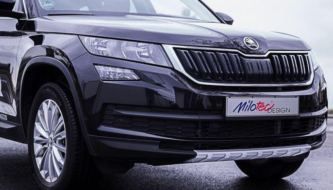 Kryt predného nárazníka - ABS strieborný, Škoda Kodiaq, 2016->, MILOTEC