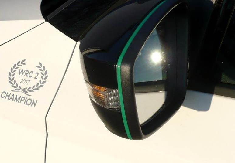 Design lišta zpětných zrcátek - zelená, Škoda Karoq, 2017-