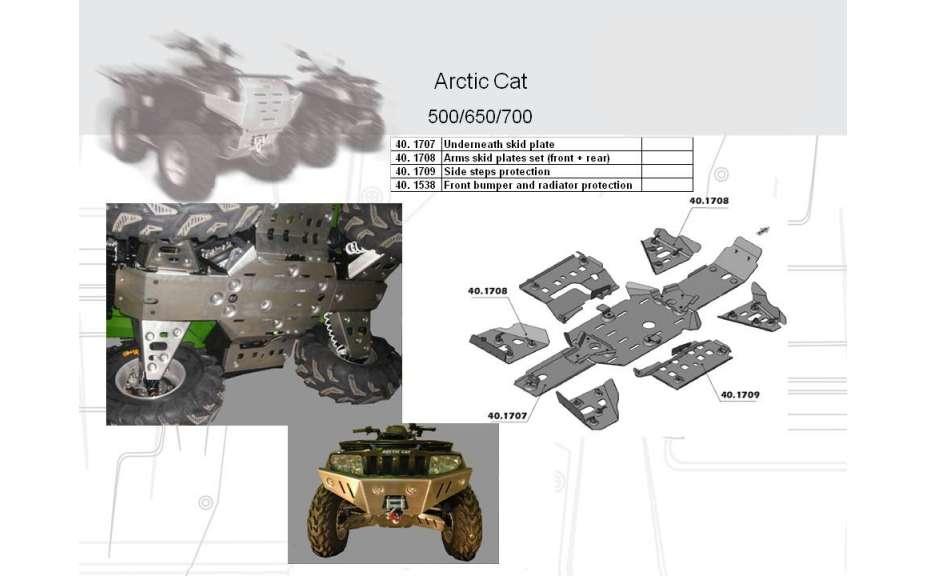 Predný ochranný nárazník a kryt chladiče ATV QUAD, Arctic Cat EFI, 2007->, Hliník 4 mm