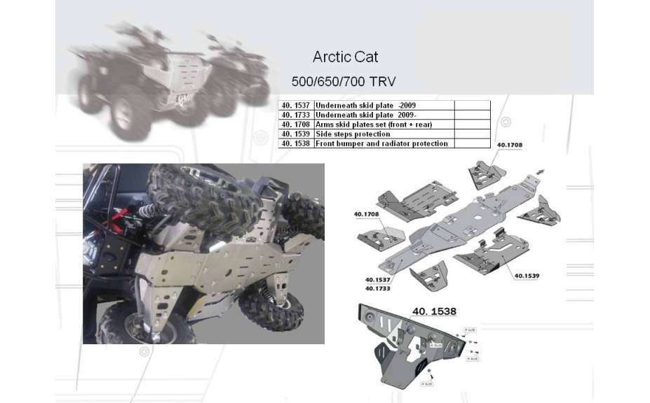 Predný ochranný nárazník a kryt chladiče ATV QUAD, Arctic Cat TRV EFI, 2008->09->, Hliník 4 mm