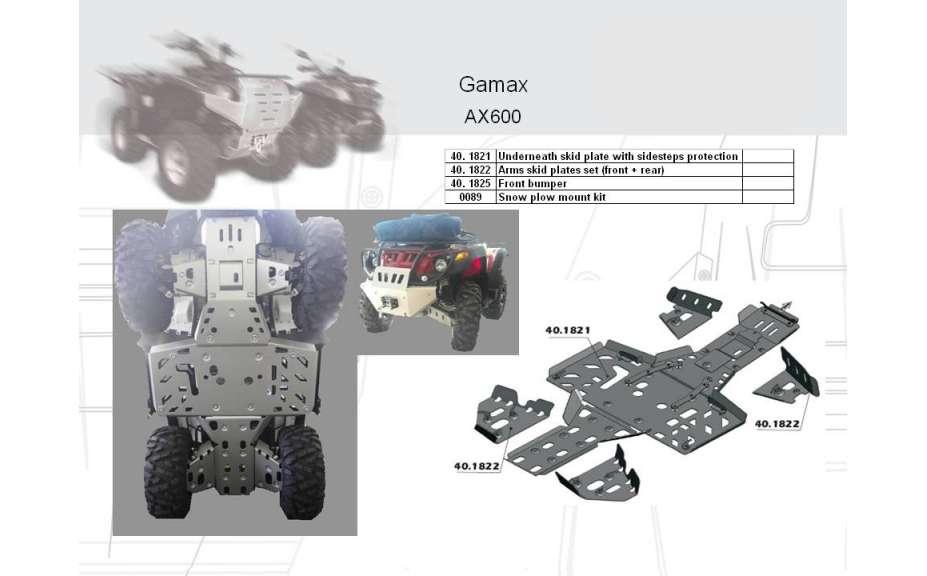 Predný ochranný nárazník ATV QUAD, GAMAX Gamax 600, 2010->, Hliník 4 mm
