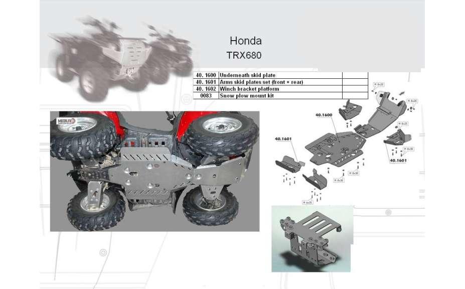 Kryt podvozku ATV QUAD, Honda FourTrax Rincon TRX680FA, 2007->, Hliník 4 mm