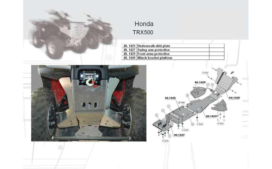 Kryt zadního kyvného ramena ATV QUAD, Honda Foreman (Rubicon) TRX500, 2007->, Hliník 4 mm