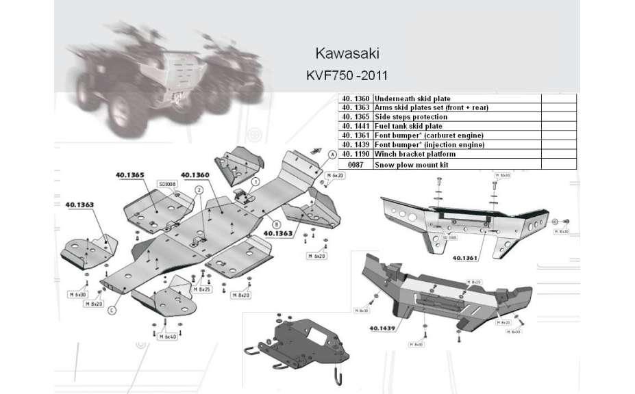 Predný ochranný nárazník (vstřikovací motor) ATV QUAD, Kawasaki BruteForce KVF 750, 2006->, Hliník 4