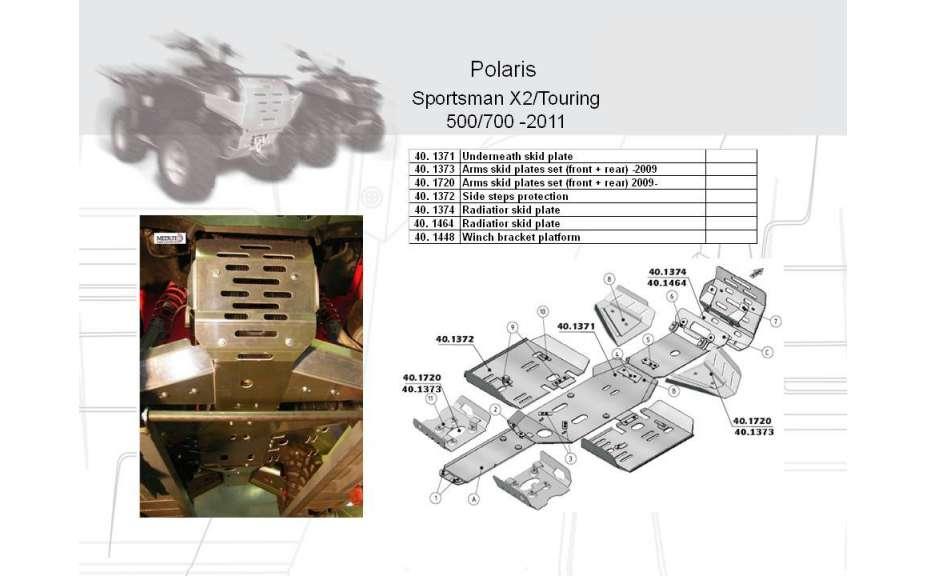 Montážní kit k sněžnému pluhu, Polaris Sportsman X2/Touring, 2009->11->, Oceľ 5mm