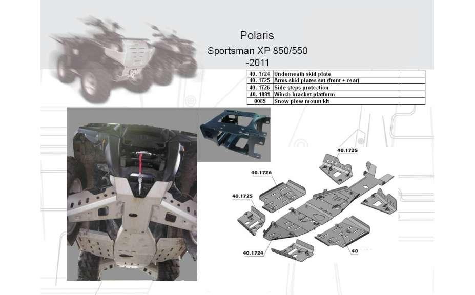 Montážní kit k sněžnému pluhu, Polaris Sportsman XP, 2009->11->, Oceľ 5mm