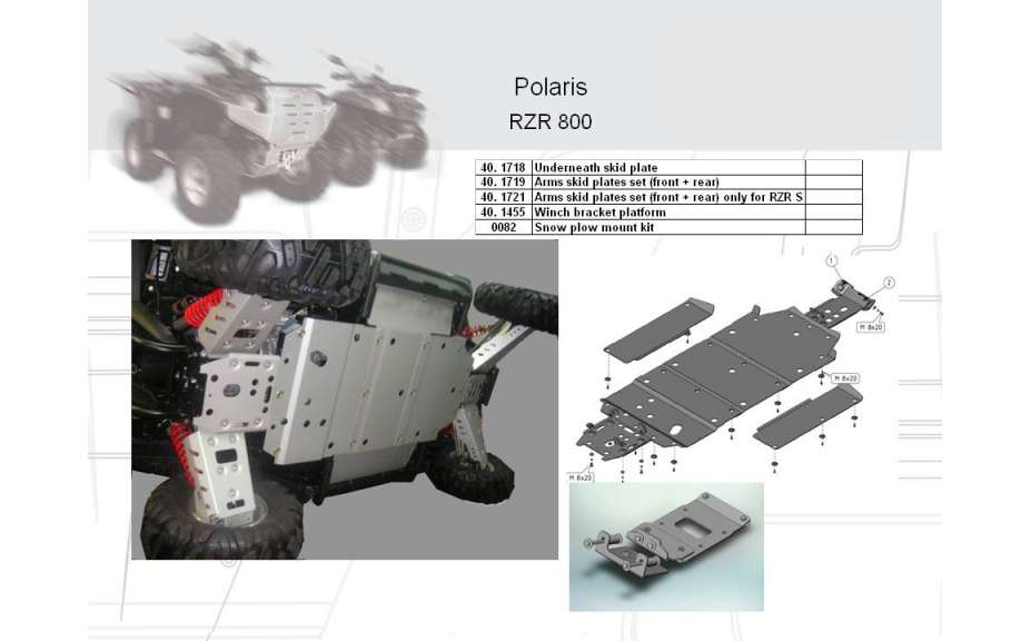 Montážní kit k sněžnému pluhu, Polaris Ranger RZR/RZR S, 2009->, Oceľ 5mm