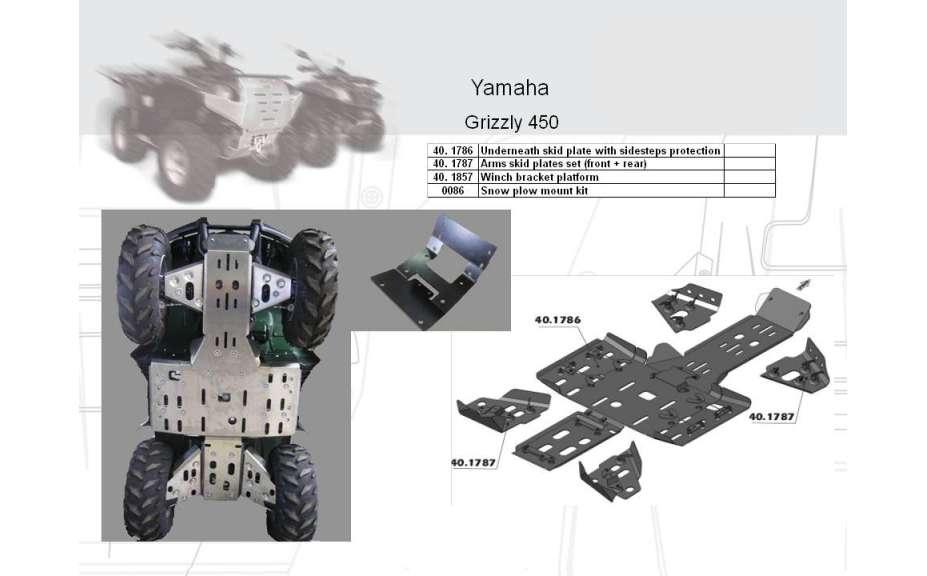 Montážný kit k sněžnému pluhu ATV QUAD, Yamaha Grizzly 450, 2009->, Ocel 5 mm