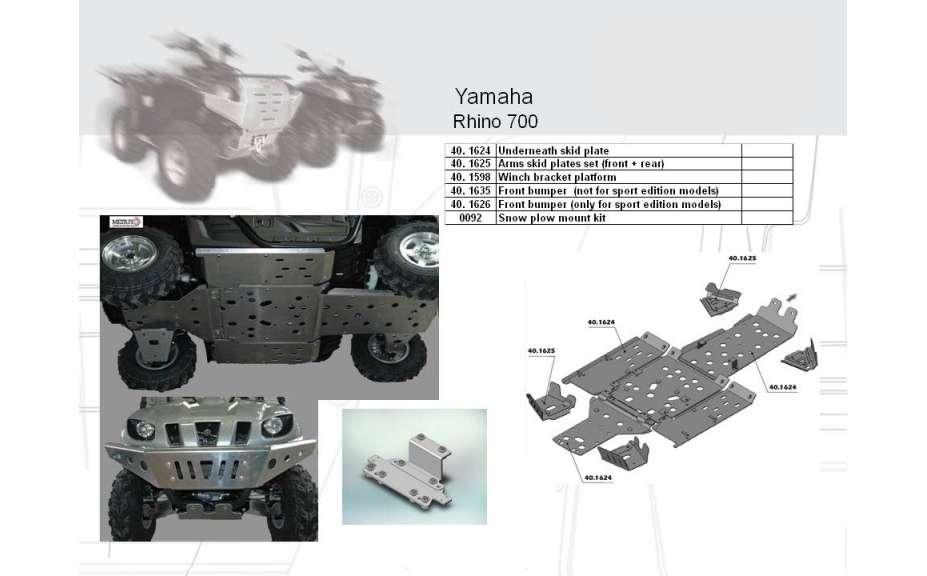 Predný ochranný nárazník (pouze pro sportovní modely) ATV QUAD, Yamaha Rhino 700, 2008->, Hliník 4 m