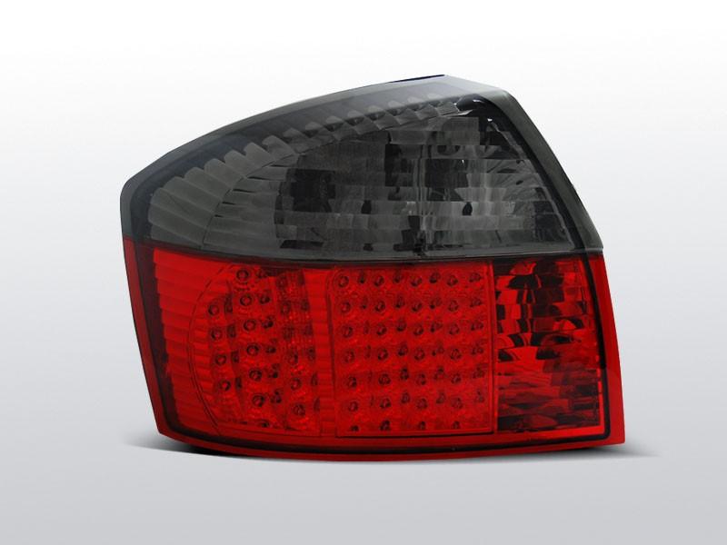 Zadné svetlá diódové, AUDI A4, 2000-2004, ČERVENÁ SMOKE LED