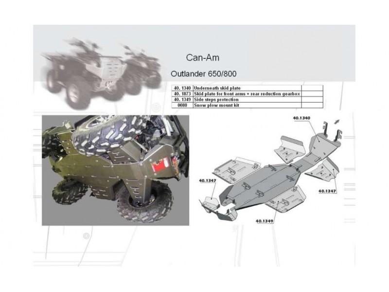 Kryty stupaček ATV QUAD, Can-Am (Bombardier) Outlander, 2007->, Hliník 4 mm